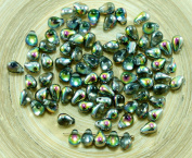 40pcs Crystal Dichroic Vitrail Green Valentine Pink Half Czech Glass Small Teardrop Beads 4mm x 6mm