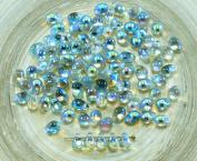 40pcs Crystal Blue Rainbow Czech Glass Small Teardrop Beads 4mm x 6mm
