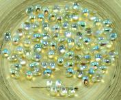 40pcs Crystal Green Rainbow Czech Glass Small Teardrop Beads 4mm x 6mm