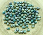40pcs Picasso Brown Blue Lustre Czech Glass Small Teardrop Beads 4mm x 6mm