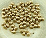 40pcs Metallic Matte Bronze Pale Gold Czech Glass Small Teardrop Beads 4mm x 6mm
