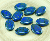 4pcs Large Picasso Opaque Blue Czech Glass Flat Oval Beads 20mm x 14mm