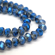 FACETED RONDELLE CRYSTAL GLASS BEADS PICK COLOUR & SIZE - BY STAR BEADS (Grey / Met Blue, 10mm
