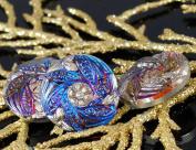 Handmade Czech Glass Buttons Small Silver Flower Vitrail Blue Size 8, 18mm 1pc