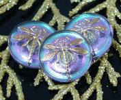 Handmade Czech Glass Buttons Small Gold Dragonfly Vitrail Light Size 8, 18mm 1pc