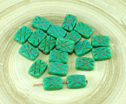 6pcs Picasso Turquoise Green Table Cut Window Rectangle Czech Glass Beads 12mm x 8mm