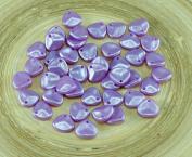 50pcs Light Rose Purple Pastel Pearl Czech Glass PRECIOSA Rose Petal Pressed Flower Flat Beads 8mm x 7mm