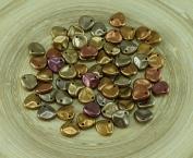 50pcs Matte Gold Rainbow Czech Glass PRECIOSA Rose Petal Pressed Flower Flat Beads 8mm x 7mm