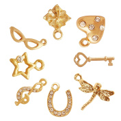 Pearlfection 18k Gold Plated Charms for Jewellery Making : 8 Different Charms in Each Set