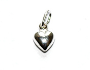 SOLID 925 STERLING SILVER SMALL PUFFED LOVE HEART VALENTINES GIFT JEWELLERY CRAFT NECKLACE PENDANT / CHARM - 10mm