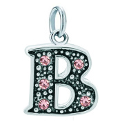 Korliya Alphabet Charm Letter Dangle Bead With Pink Crystal For Bracelet and Necklace