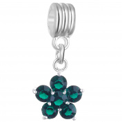RUBYCA 5Pcs Flower Dangle Pendant Charm Beads Crystal Rhinestone European Bracelet Emerald Green