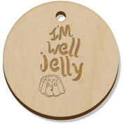 11 x 34mm 'I'm Well Jelly Text' Wooden Pendants / Charms