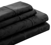 Cuddledown 400 Thread Count Jacquard Fitted Sheet, Twin, Black