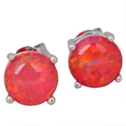 Silver Opal Stud Earrings Orange Red Exclusive Summer Jewellery