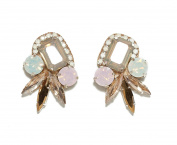 Deepa Gurnani Hand Embroidered Faceted Light Blue and Pink Crystal Cluster Statement Earrings