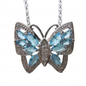 925 Silver Butterfly Pendant Necklace Chain With Blue Topaz