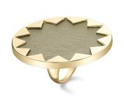 House Of Harlow 14ct Gold Plated Sunburst Cocktail Ring with Khaki Leather