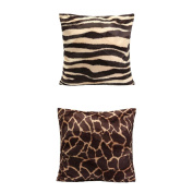 Homyl Pair of Square Animal Print Pillow Cases Leopard Zebra Sofa Bed Throw Pillow Cushion Covers
