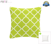 Indoor/Outdoor Throw Pillow with Insert 46cm x 46cm Decorative Square (Green, Quatrefoil Lattice) Cushion Covers Pillow Sham for Couch Bed Sofa Patio by FBTS Prime