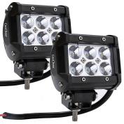 2 Pcs LED Fog Flood Light Spot Work Bar Light 6500K IP68 18W HFON