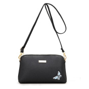 Fashion Women Bag, Ladies Pure Colour Butterfly Embroidery Messenger Bags Shoulder Bag PU Leather Crossbody Bags
