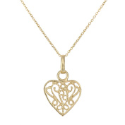 Citerna 9ct Yellow Gold Heart Pendant Necklace of Length 46cm