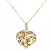 Citerna 9ct Yellow Gold 3D Heart Pendant Necklace of Length 46cm