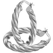Citerna 9 ct White Gold Diamond Cut Twisted Oval Hoop Earrings 0.3 cm Tube