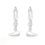 Tata Gisele© Earrings in 925/000 Sterling Silver and Crystal Hoop Earrings 12 mm Transparent with Angel Wings