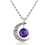 MESE London Galaxy Necklace Silver Moon & Star Pendant - Free Gift Box