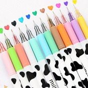 12pcs/pack Assorted Colours Pen Style Gel Soft Pin Type Ink Pen 0.38 mm Anti Skip Smooth Writing Pens