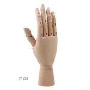 Wooden Hand Body Artist Model Jointed Articulated Flexible Fingers Wood Sculpture Mannequin 17 cm