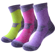 3 Pairs Camping Hiking Walking Socks for Women - Cushioned Comfortable Fitness Athletic Crew Socks for Outdoor Running Trekking Skiing Sports