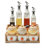KUYIYILO,Seasoning Box Set Bamboo Shelf - Oil Bottle Spice Bottle - Kitchen Shelf, b