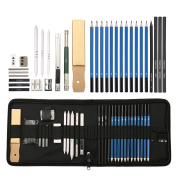 ARTISTORE Charcoal Sketching Pencils Set 32 Pcs With Sketch Book, Kit Bag, Tools, Erasers, Professional Graphite Pencil Set For Shading, Sketching and Drawing MM