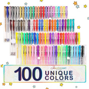 100 Pack Glitter Gel Pens By ARTISTORE Unique Colours (No Duplicates) Gel Pens Gel Pen Sets Perfect Gift Idea For Adult Colouring Books Craft Doodling mm