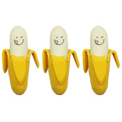 3 Kids Novelty Coloured Rubber Erasers Yellow Bananas
