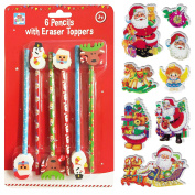6 Christmas Xmas Pencils Eraser Toppers & FREE STICKERS Anker