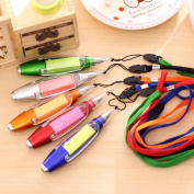 DaoRier 5Pcs Ballpoint Pen Stationery Cute Pen With Strap Lanyard Flashlight and Memo Notepaper
