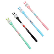 Holo Cute 2Pcs Creative Stationery Cartoon Rabbit Head 0.5mm Gel Pen Student Office Supplies Stationery