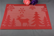 6 Pcs/Set PVC Christmas Table Mat Table Placemat Kitchen Dinning Waterproof Table Cloth Pad Mat