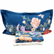 Complete Double Duvet Cover Summer Flowers blue