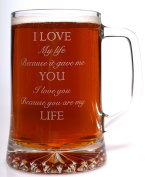 (FBA) Engraved I LOVE YOU Pint Glass TANKARD Gift for Valentines Day/Birthday