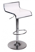 Vogue Furniture White Arcylic with Chrome Outline Swivel/Hydraulic Barstool and Chrome Tearsdrop Footrest VF1581018