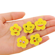 Holo Cute 10Pcs Creative Stationery Cartoon Colourful Yellow Flower Shape Smile Erasers Gift for Students