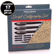 William Mitchell Complete 3 Pen Script Calligraphy Gift Set ● 17-piece gift set ● Free-flowing pens designed for LEFT-HANDED writers ● Suitable for all levels