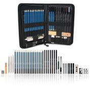 40PCS Graphite Drawing and Sketch Set with Carry Case AGPtek, Professional Artist Set Including Pencils, Pastel Pencils, Erasers, Knife, Pencil Extender & Sharpener, Great for Beginner & Professional
