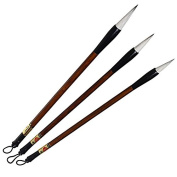 ofoen 3 Pieces Chinese Brush, Wolf Hair Calligraphy Painting Brushes - Size Large Medium Small Brown