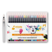 20 Colours Watercolour Brush Marker Pen, Soft Flexible Tip and Vibrant Colour, Good Starter Set for Colouring, Drawing, Painting, Sketching